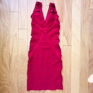 Bebe Sexy Cutout Red Bandage Dress size Small
